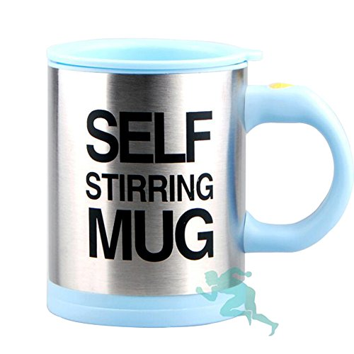 Stainless Steel Coffee Mug Self Stiring Mugs Electric Automatic Mixing Cups for Stir Coffee Milk Mix Juice Drink and Plastic 300ml 12-16 OZ (Light ()