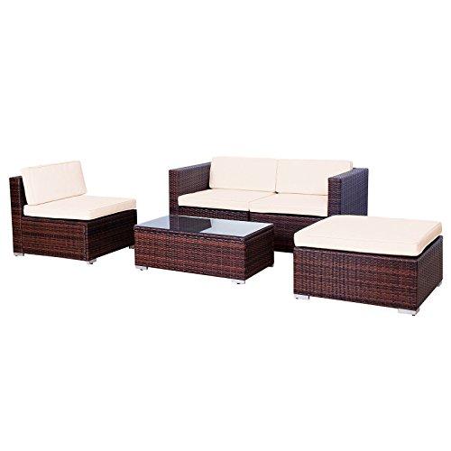 EVRE Outdoor California Rattan Weave Sofa Set Brown