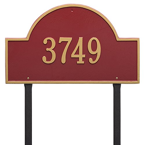Arch Marker Estate Address Plaques - Whitehall Products Arch Marker Estate Red/Gold Lawn 1-Line Address Plaque