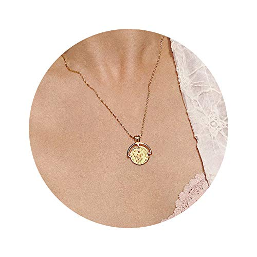 Mevecco Gold Tiny Coin Pendant Necklace,14K Gold Plated Boho Dainty Vintage Religious Long Chain Disc Charm Minimalist Simple Necklace for Women