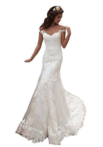 Irenwedding Women's Deep Neck Applique Lace Fishtail Button Long Wedding Dress Ivory US12 by Irenwedding