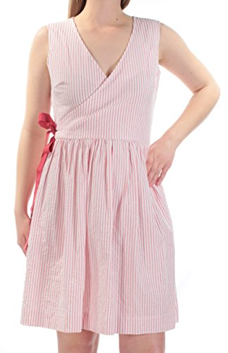 Tommy Hilfiger Women's Striped Seersucker Sheath Dress Pink 4 Pink Striped Seersucker