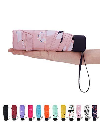 Fidus Mini Compact Sun&Rain Travel Umbrella - Lightweight Portable Umbrella with 95% UV Protection-Dot Pink