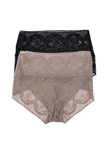 Felina | Finesse Modern Mock Wrap Brief 2-Pack | Panty | Lace (Living in Neutrals, - Felina Lace Briefs