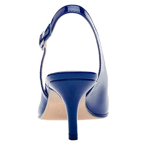 Tacón De Azul Punta Con Cerrada Eks Zapatos Mujer Ox1Eqw86SC