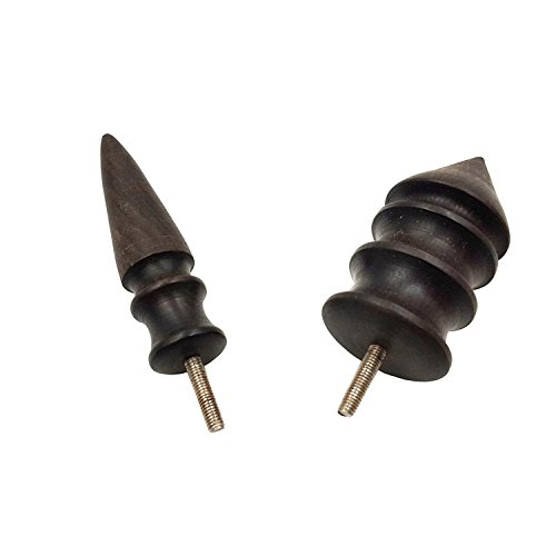 Aiskaer 2Pcs Ebony Pointed Tip Leather Burnisher leather Slicker Tool,electric polished head DIY leather tools(2PCS-Short)