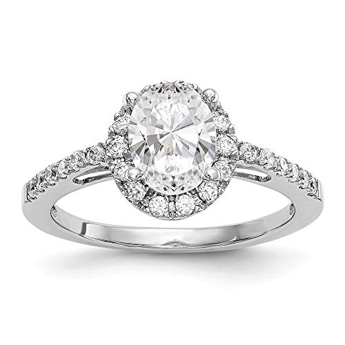 (14K White Gold Diamond Oval Semi-Mount Oval Halo Engagement Ring Size 7 Length Width)