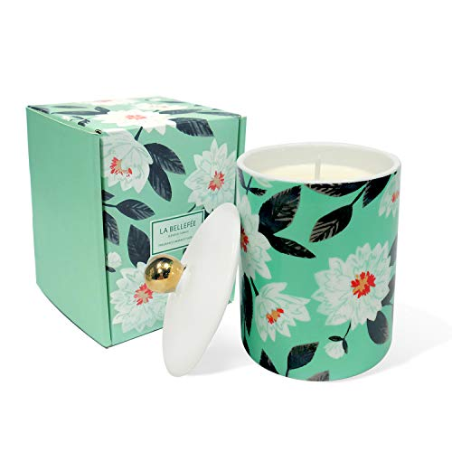 LA BELLEFÉE Scented Candles Gift Set Aromatherapy Travel Tin Ceramic Candle with Jasmine & Peppermint Fragrance for Weddings, Parties, Home Decoration