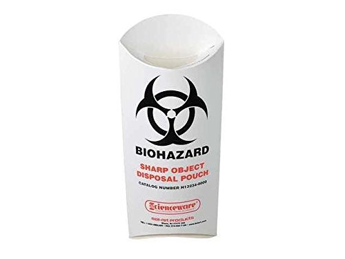 Paperboard Biohazard Sharp Object Disposal Pouch, 200 per Package