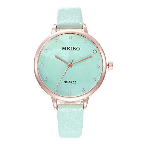 Women Watches Solid Color Leather Strap Diamond Decoration Dial Casual Quartz Wrist Watch (Mint Green)