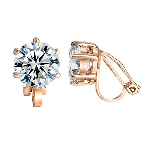 Yoursfs Crystal Women Clip On Earrings Fashion Jewelry Unique Cocktail CZ Earrings Women Gift (CZ Clip Earrings)