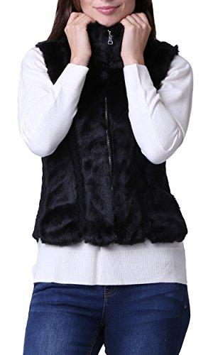 Womens Faux Rabbit Fur Vest Jacket with Pockets (Black Rabbit Knit Jacket)