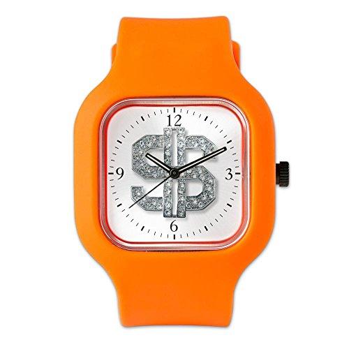 Orange Fashion Sport Watch Bling Dollar Sign