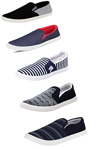 9d6fa1f4299b5 SCATCHITE Men s Canvas Black Loafers (Pack of 5)