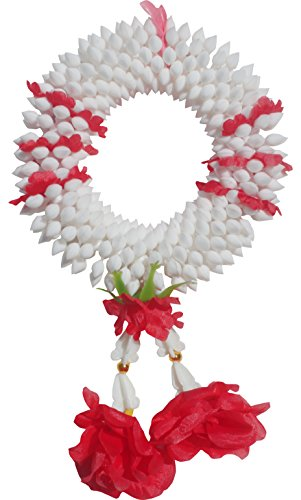 Full Funk Plastic Love Flower Thick Ring For Thai Dance Or Festivals, White and Red