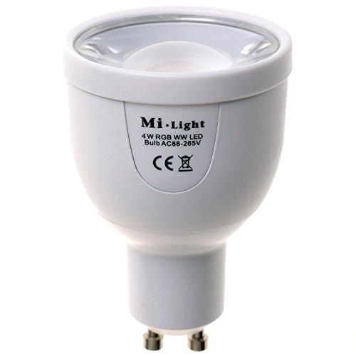 Mi-Light - Lampada LED 2,4G RF RGBW RGB+W WW Bianco Caldo GU10 4W 220V Controllo Wireless tramite Telecomando di Mi-Light WiFi via iPhone iPad Android Smartphone Tablet