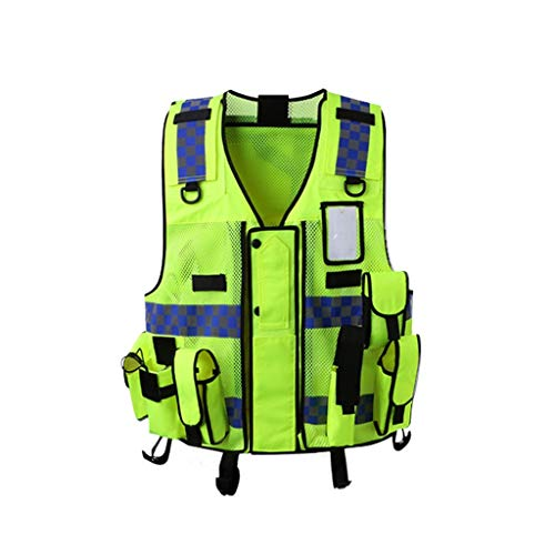 Multifunctional High Visibility Reflective Vest Zipper Multi-Pocket Walking Sports Outdoor Reflective Safety Jacket -