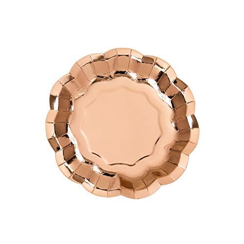 Party Porcelain Rose Gold Foil, Scalloped Plates, (8Pk)