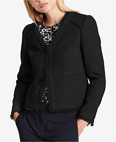 DKNY New Women's Fringe-Trim Textured Blazer Jacket Black $139 Size ()