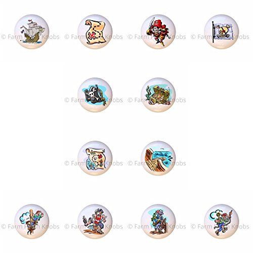 SET OF 12 KNOBS - Pirates - Pirate Ship Treasure Chest Map Plank - DECORATIVE Glossy CERAMIC Cupboard Cabinet PULLS Dresser Drawer KNOBS (Pulls Map Drawer)