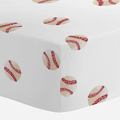 - Carousel Designs Watercolor Baseball Crib Sheet - Organic 100% Cotton Fitted Crib Sheet - Made in The USA