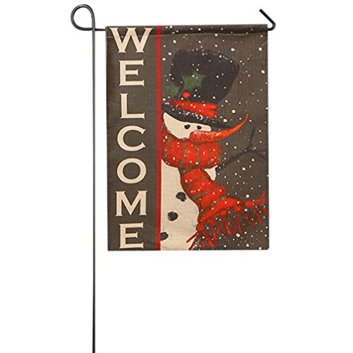 AMA(TM) Christmas Fall Garden Flag Indoor Outdoor Home Decor Winter Xmas Snowman Tree Elk Santa Claus Snowflake Flag (A)
