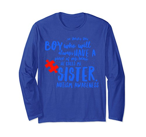 Unisex Piece Of My Heart Brother Sister Autism Awareness Shirt XL: Royal (Autism Long Sleeve T-shirt)