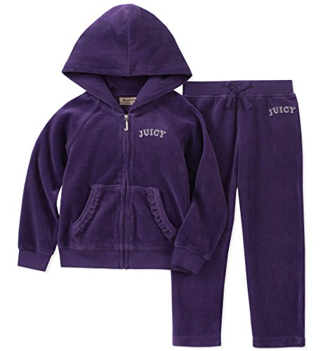 Juicy Couture Girls' Little 2 Pieces Jog Set-Velour, Purple, 6