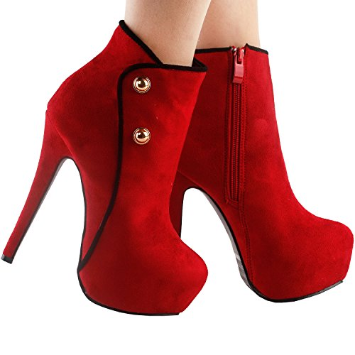 Show Story Hot Two Tone Button Platform Stiletto Heel Party Ankle Bootie,LF80829 Red