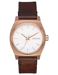 Nixon Womens Medium Time Teller Leather Rose Gold Brown A11722630