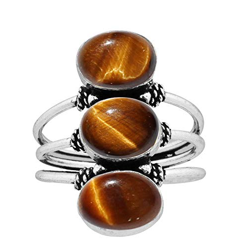 (925 Silver Plated Natural Oval Shape Tiger Eye 3 Stone Ring Vintage Style Handmade Oxidized Finish for Women Girls (Size-5.5) )