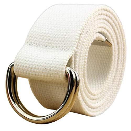 Men Belt Reversible,Double loop canvas belt belt belt men and women students lovers waistband,Men's Novelty Belt Buckles,White,2019 Clearance Sale