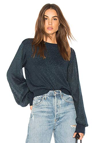 Free People Womens Juniors Let It Shine Shimmer Padded Pullover Sweater Navy M