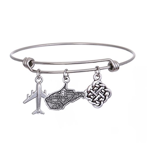 State Plane - JJTZX State Bangle U.S. Map Charm Expandable Travel Bracelet Long Distance Relationship Gift Best Friends Bracelet (West Virginia)