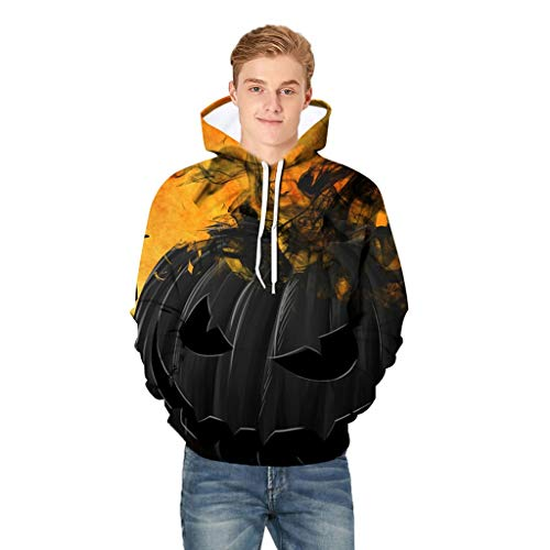 Holzkary Men's Horror Halloween Costume Funny Printed Party Hooded Pullover Tops Long Sleeve Sweatshirts Hoodies with Pockets(M.Black-3)