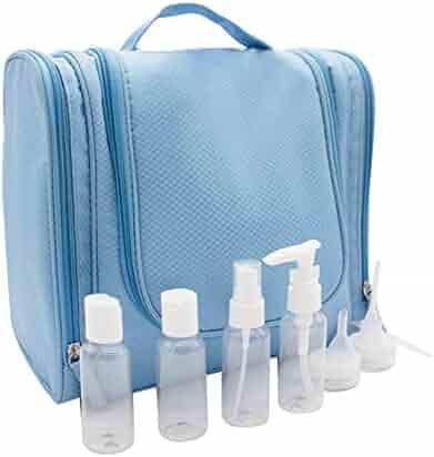 e810b8cdff8 Hero Star Hanging Toiletry Bag + 9pcs Set 50ml Sprayer Bottles Large  Waterproof Travel Makeup Organizer
