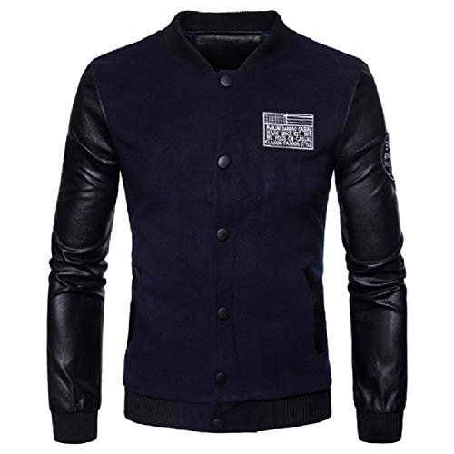 RkBaoye Men Plus Size Stand Collar Faux Leather Long Sleeve Coat Navy blue