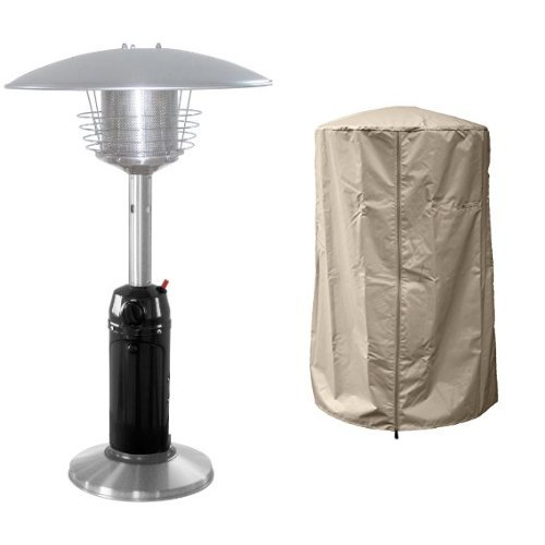 AZ Patio Black Finish Portable Table Top Patio Heater HLDS032-BSS with 39'' Heavy Duty Heater Cover - Tan