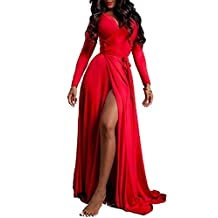 VIVICASTLE Women's Sexy Long Sleeve Tulip Wrap Slit Front Full Long Maxi Dress