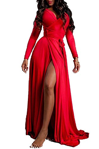 Vivicastle Women's Sexy Long Sleeve Tulip Wrap Slit Front Full Long Maxi Dress (Small, Red)