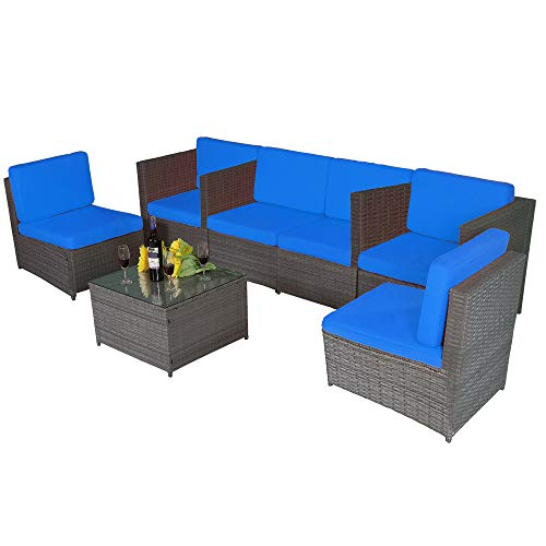 MCombo Outdoor Patio Gray Wicker Furniture Sectional Set Resin All-Weather Conversation Sofas Rattan Chair with Water Resistant Cushion Covers 6087 7PC (Blue)