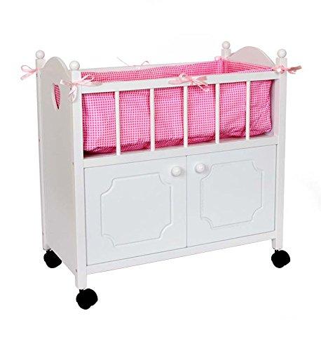Puppenbett mit Schrank aus Holz, ein schmuckes Möbelstück für alle Puppenmuttis, mit rosa Bettumrandung, Kopfkissen und Bettdecke