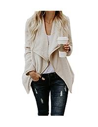 WakeUple Women's Wool Blend Coat Long Trench Outwear Wool Cardigan Sweaters