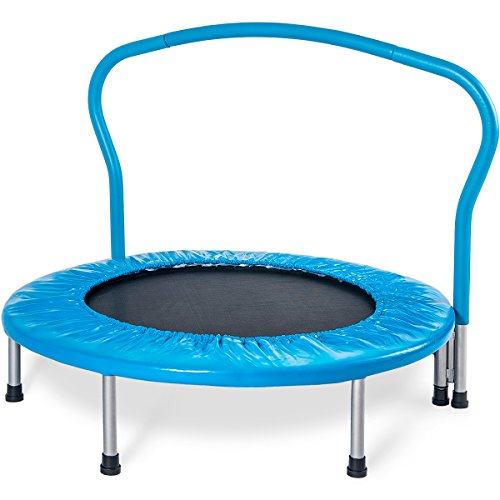 "Merax 36"" Kid's Mini Exercise Trampoline Portable Trampoline with Handrail and Padded Cover"