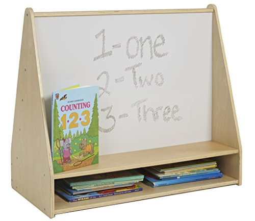 (ECR4Kids Birch Pic-A-Book Display Stand with Dry Erase White Board and Storage, Wood Book Shelf Organizer for Kids, Natural)
