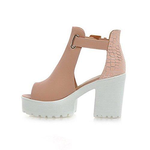 Adee Ladies Romanesque Style High-Heels Polyurethane Sandals Pink x97QNJcI