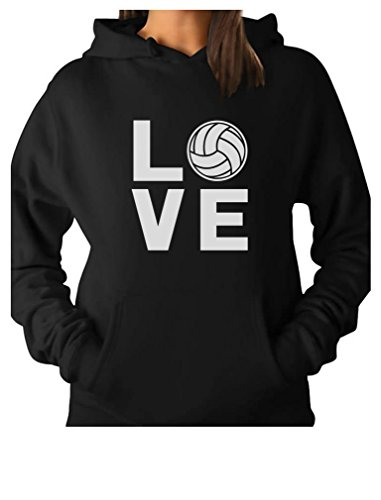Love Volleyball for Volleyball Fans Women Hoodie Medium Black