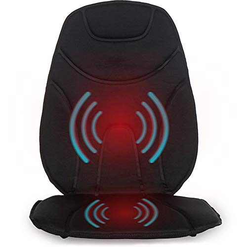 Vibration Massage Cushion with Heat | Multi-Speed for Home, Office or Car | Portable Travel Back and Seat Pad for Chair with Controller | Auto Adapter Included | Black ()