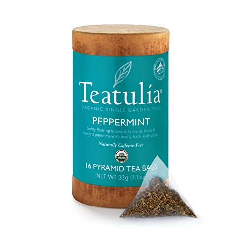 Teatulia Organic Single Garden Peppermint Whole Leaf Pyramid Teabags, 16 Count