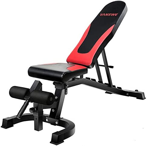 Vanswe Adjustable Weight Bench 800 lbs Flat Incline Decline Utility Exercise Workout Bench Sit Up Home Gym Equipment for Full Body Workout